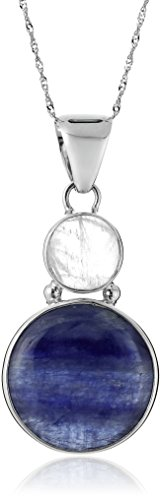Sterling Silver Rainbow Moonstone and Kyanite Pendant Necklace, (Kyanite Moonstone Necklace)
