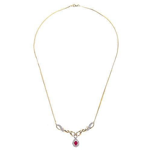 Naava - Collier - Femme - Or jaune (9 carats) 3.3 Gr - Diamant - Rubis 0.58 Cts