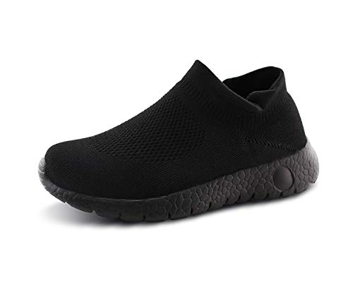 Jabasic Kids Walking Shoes Boys Girls Breathable Slip On Knit Sock Sneakers (blk/blk,4) (Best Indoor Gym Shoes)