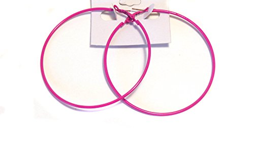 Pink Hoop Earrings (Hot Pink Hoop Earrings Simple Thin Hoop Earrings 2.75 Inch Hoop Earrings)