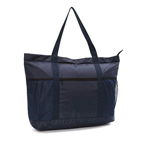 (Large Beach Bag With Zipper - XL Foldable Tote Bag For Travel And Shopping - Large Tote Bag With Many Pockets (Dark Navy))