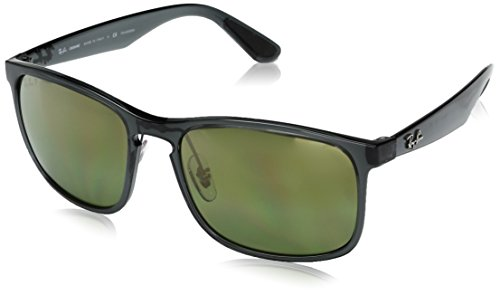 Ray-Ban RB4264 Chromance Lens Square Sunglasses, Grey Frame/Green Mirror Lens - Ray Chromance Ban Polarized