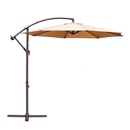 Le Papillon 10-ft Offset Hanging Patio Umbrella Aluminum Outdoor Cantilever Umbrella Crank Lift, Beige (Outdoor Furniture Lift)