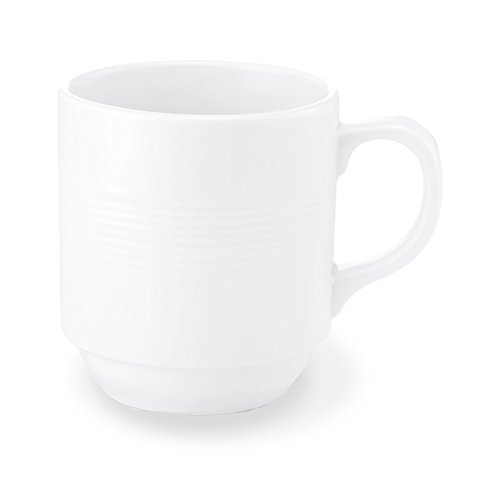 Bon Chef 1400002P Stacked Lines 4.3 Inch x 3.1 Inch x 3.4 Inch Round Mug, Fine Porcelain Dinnerware, White (Pack of 36)
