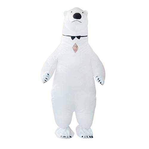 SIREN SUE an Inflatable Polar Bear Costume for Halloween Fancy Dress Cosplay Blow Up Full Body Suit Jumpsuit for Adult White -