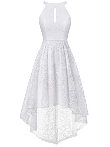 FAIRY COUPLE Women's Halter Hi-Lo Floral Lace Cocktail Party Bridesmaid Dress DL022B(L,B White)
