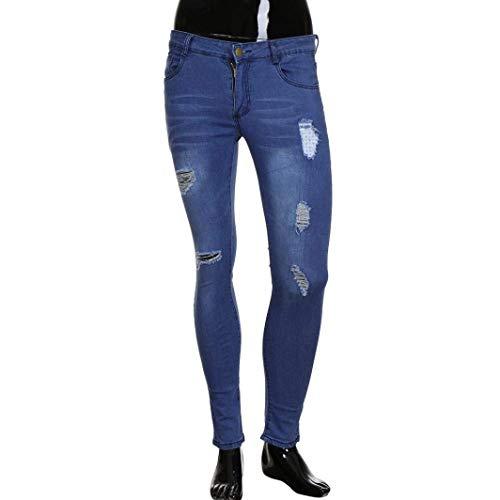 Tasche Con Casual Chiusura Lungo Denim Uomo Blau Jeans Estilo Di Strappato Pantaloni Da Especial Blu Sottile Vintage qAOR7Rwgx