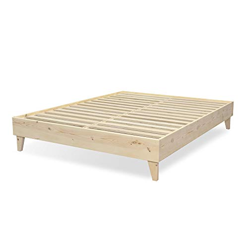 - eLuxurySupply Modern Farmhouse Platform Bed with Slat Support: 100% USA Made | North American Pine Solid Wood | No Box Spring Needed | DIY | Natural Color - Unstained | Easy Assembly - King