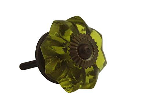 (Olive Green Glass Flower Antiqued Brass Drawer Knob Pull Handle | Antique Cabinet, Vintage Cupboard, Old Desk Reproduction Restoration Hardware + Free Bonus (Skeleton Key Badge) | DL-GKOLGRN-AB (10) )