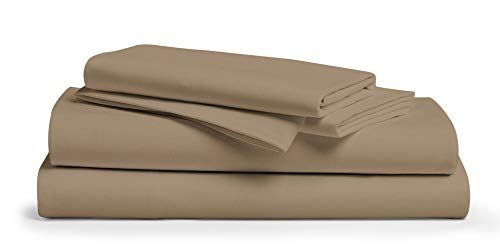 800 Thread Count 100% Egyptain Cotton Sheet Twin Taupe Sheets Set, 4-Piece Long-staple Combed Pure Cotton Best Sheets For Bed, Breathable, Soft & Silky Sateen Weave Fits Mattress Upto 18