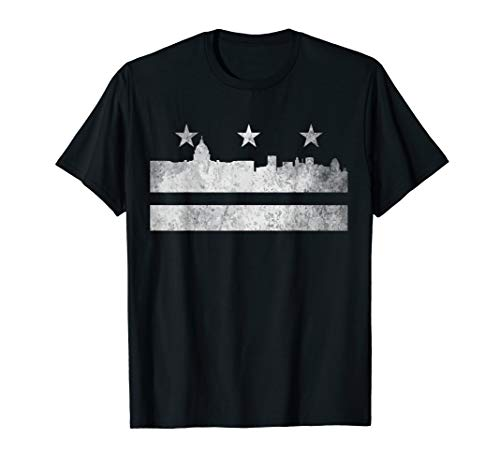 Washington DC Flag USA T-Shirt Vintage Cities Skyline Shirt
