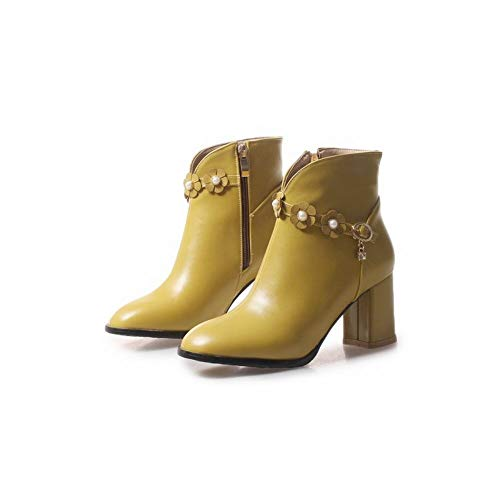 Zip Boots Short Heel Women's Carolbar Block Yellow Beaded 1POIIa