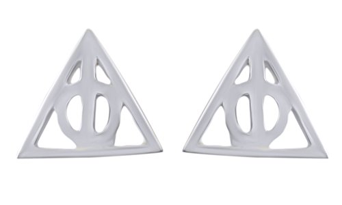 Silver Over Gold Stud (Jewel Zone US Harry Potter Deathly Hallows Stud Earrings in 14K White Gold Over Sterling Silver)