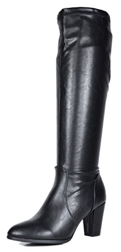 DREAM PAIRS Women's Midleg Black PU Chunky Heel Knee High Boots Size 9 M (Womens Black Knee Boots)
