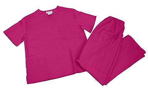 M&M Scrubs Women Scrub Set Medical Scrub Top and Pants XL Hot Pink - Hot Pink Scrub Pants