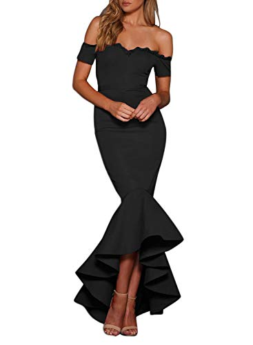 Happy Sailed Womens 2018 Off The Shoulder Slim Evening Mermaid Long Cocktail Party Dress Black ()