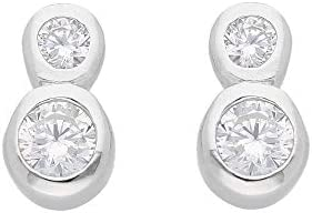 1 Paar Silber Ohrringe Ohrstecker 925 Sterling Silber mit Zirkonia
