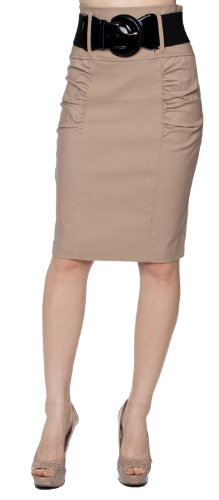 Belted Classic Belt (A.Sense Belted Classic Side Ruching High-Waisted Pencil Knee Skirt (Large,)