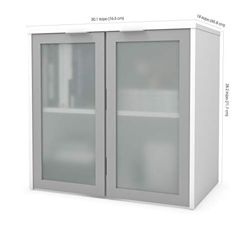 Bestar Hutch with Frosted Glass Doors - i3 Plus