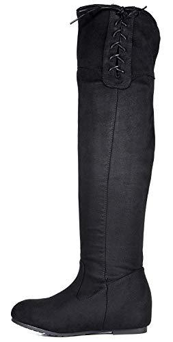 (DREAM PAIRS Women's Drew Black Hidden Wedges Heel Over The Knee Boots Size 10 M)