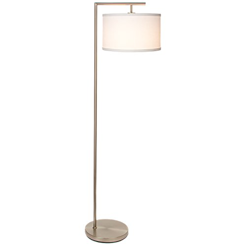 Brightech Montage Modern LED Floor Lamp - Living Room Standing Pole Light with Hanging Drum Shade - Tall Downlight for Bedrooms, Family Rooms, Offices – with LED Bulb - Satin Nickel by Brightech
