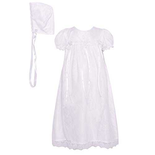 The Children's Hour Unisex Baby White Fully Lined Lace Gown & Bonnett, Size 12m
