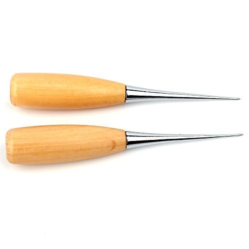 Z-COLOR 2pcs Professional Leather Wood Handle Awl Stitching Awl Sewing Leather Tool Cloth Awl Sewing Dig Hole Punching Craft Tool