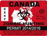 """Yellow Dog Zombie Hunting Permit Canada 4"""" x 2.4"""" Outbreak Sticker RED"""