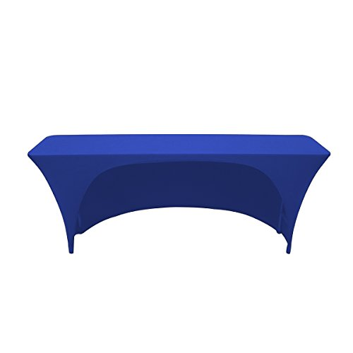 Your Chair Covers - Spandex 6 Ft x 18 Inches Open Back Rectangular Stretch Tablecloth - Royal Blue (Open Inc Table)
