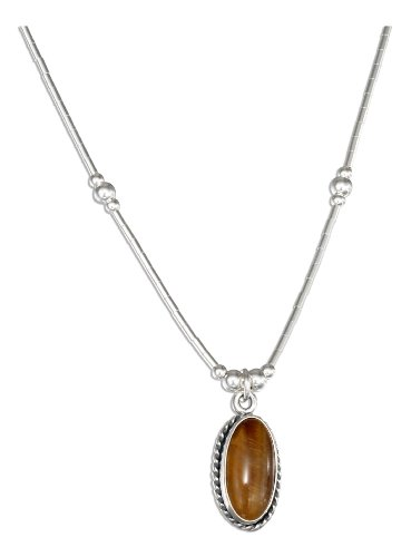 Sterling Silver 16 inch Liquid Silver with Oval Tiger Eye ()