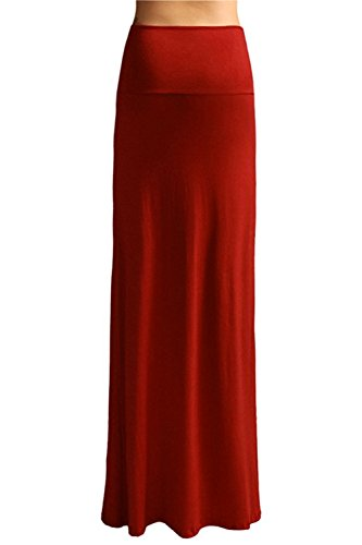 Garyline Women'S Rayon Span Maxi Skirt - Rust XL (Plus Size 90s Fancy Dress)
