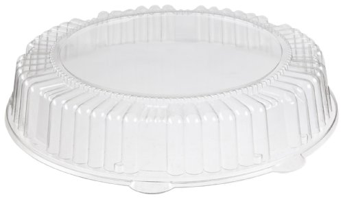 CaterLine Plastic Round Catering Tray Dome Lid, 12-Inch Diameter x 1.85-Inch Height, Clear (25-Count)