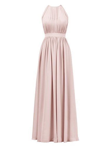 Alicepub Halter Illusion Bridesmaid Dress Chiffon Formal Evening Prom Gown Maxi, Pearl Pink, US6
