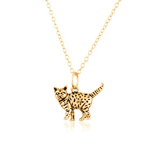 - Sterling Silver 18K Yellow Gold Plated 3D Cat Pendant/Charm, with 18-Inch Chain - in Beautiful Antique Brushing