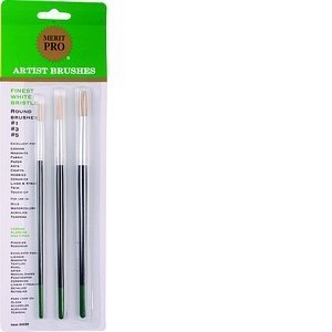 MERIT PRO 00009 Finest Round Bristle Artist Brush Set, 3 Piece