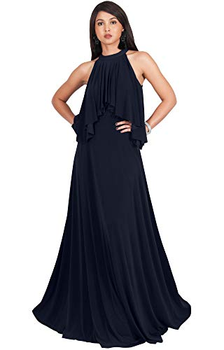 (KOH KOH Womens Long Sleeveless Halter Neck Flowy Bridesmaid Bridal Cocktail Spring Summer Beach Wedding Party Guest Floor-Length Gown Gowns Maxi Dress Dresses, Navy Blue L)