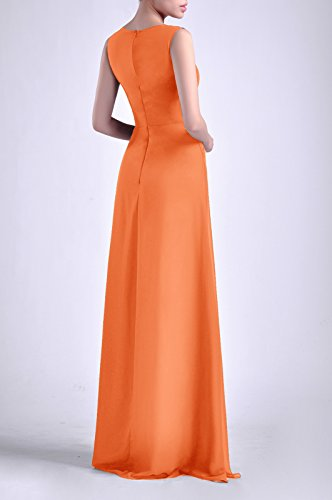 Bateau Straps Adorona Natrual Sheath Dress Long Women's Tangerine Chiffon Sleeveless IPqR1