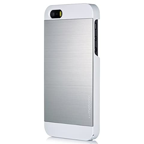 iPhone 5C Case, MOTOMO [Silver] iPhone 5C Case Aluminum [Brushed Aluminum] Metal Cover Protective Case - Verizon, AT&T, Sprint, T-Mobile, International, and Unlocked - Case for iPhone 5C - Retail Packaging - Silver/White (Aluminum Metal Iphone 5c Case)