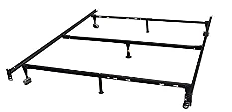 Kings Brand 7 Leg Heavy Duty Adjustable Metal Queen Size Bed Frame With Center Support