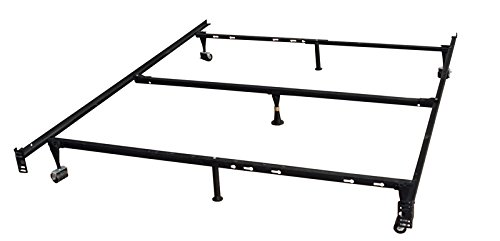 7-Leg Heavy Duty Adjustable Metal Queen Size Bed Frame with Center Support Rug Rollers and Locking - Queens Centre