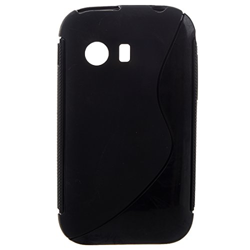 TOOGOO(R) TPU Gummi Haut Abdeckung Kompatibel mit Samsung Galaxy Y S5360, Frost Schwarz S Form