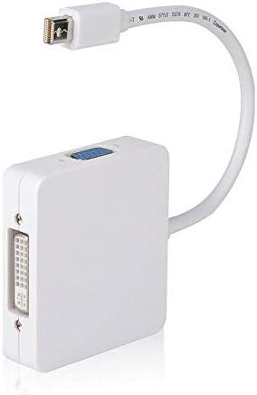 Mini DP to HDMI VGA DVI 3in1 変換 アダプター PC パソコン モニター テレビ プロジェクター コンパクト 持ち運び 簡単 ホワイト MINIDPHK