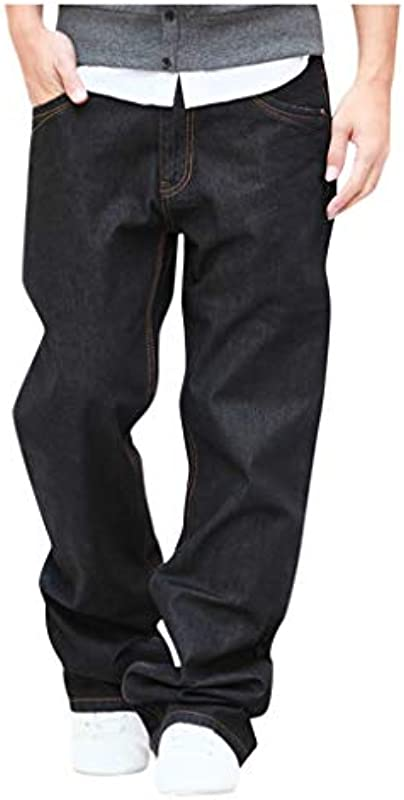 GreatestPAK luźne proste dżinsy męskie jesień zima spodnie na czas wolny Plus Size: Odzież