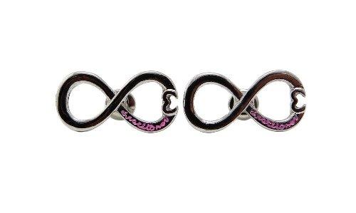 Directioner Engraved Heart Tip Infinity Loop Stud Earrings, Pink/Silver-Tone