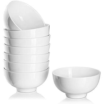 DOWAN 8 Packs 10 Ounces Porcelain Small Bowl Set for Ice Cream, Dessert, Small Side Dishes, Salad, Fruit, Dip, White