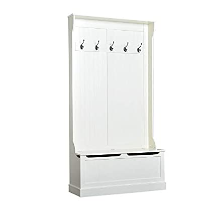 """HOMCOM 71"""" Hall Tree with Storage Bench and Coat Rack - Cream White 6ft Wooden Entryway Storage Bench Hall Tree Hallway Clothes Bag Coat Rack 5 Hooks - ✅3-IN-1 DESIGN HALL TREE: A traditional style hall tree with storage bench and coat rack designed to accommodate your entryway, laundry room, closet, and more. ✅COAT RACK WITH HOOKS: It features a built-in coat rack with 5 double hooks, each with an 8.8 lb. weight capacity for holding coats, scarves, hats, and other personal items. ✅STORAGE & SITTING BENCH: The roomy storage bench with hinged top allows you to store shoes and doubles as a sitting area for putting them and taking them off on before or after going outside. - hall-trees, entryway-furniture-decor, entryway-laundry-room - 31sIAWkdCtL. SS400  -"""