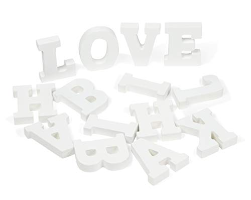 (Genie Crafts White Wood Letters - 54-Piece Standing Wooden Alphabet and 2 Symbols, A - Z Marquee Letters, 1.38 x 3.13 x 0.6-Inch 3D Decor for Wedding, Birthday, Party, Home)
