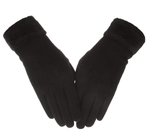 Knolee Womens NEW Gloves Plush Texture Work Touch Screen Winter Thick Drive Glove,Black