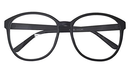 Oversized Big Round Horn Rimmed Eye Glasses Clear Lens Oval Frame Non Prescription (Matt Black 89010)