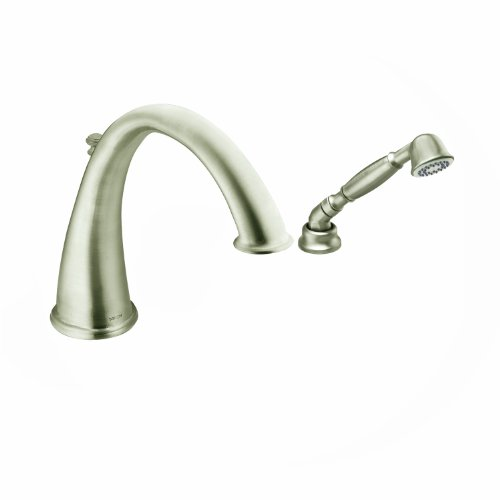 Moen T9212BN Kingsley High Arc Roman Tub Faucet Includes Hand Shower IO-Digital Technology, Brushed Nickel ()